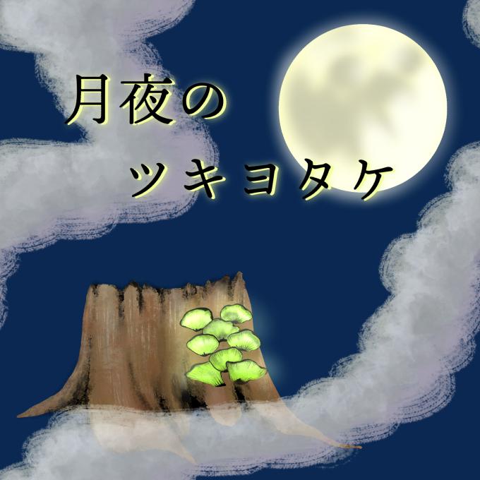 月夜に妖しく光るツキヨタケの絵
