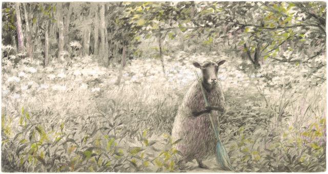 岡田千晶 箒を持った羊