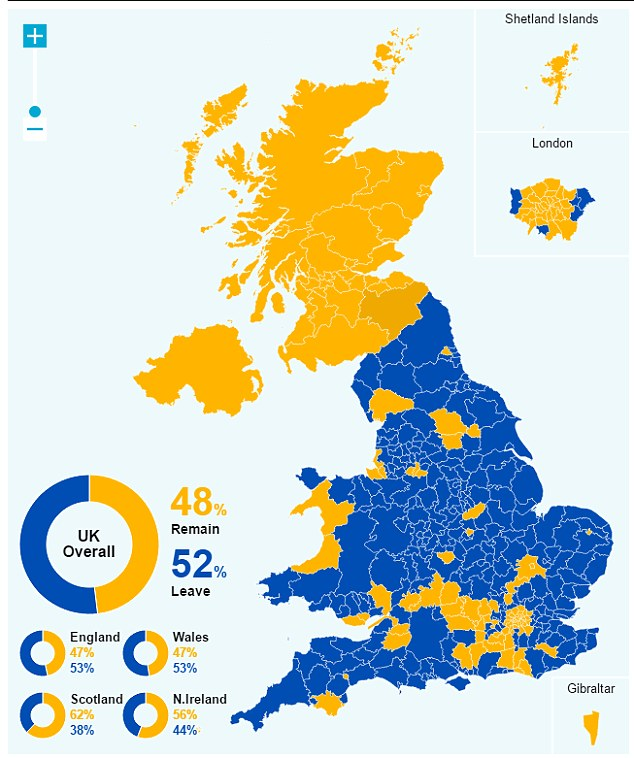 EU離脱派・残留派の分布地図